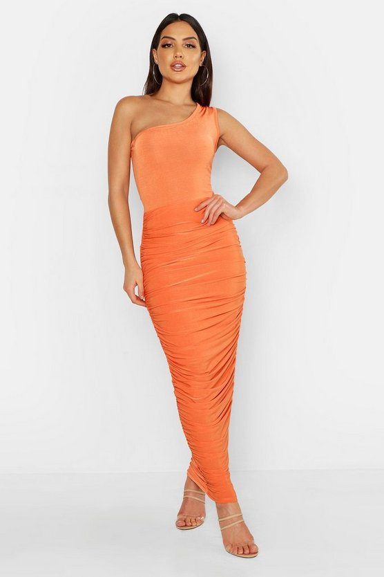 Womens Terracotta Slinky One Shoulder Ruched Side Maxi Dress
