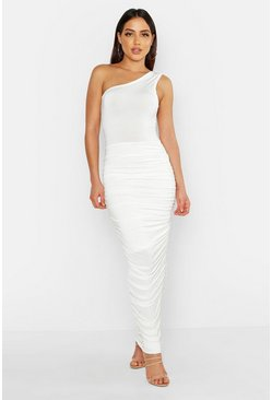 Womens White Slinky One Shoulder Ruched Side Maxi Dress