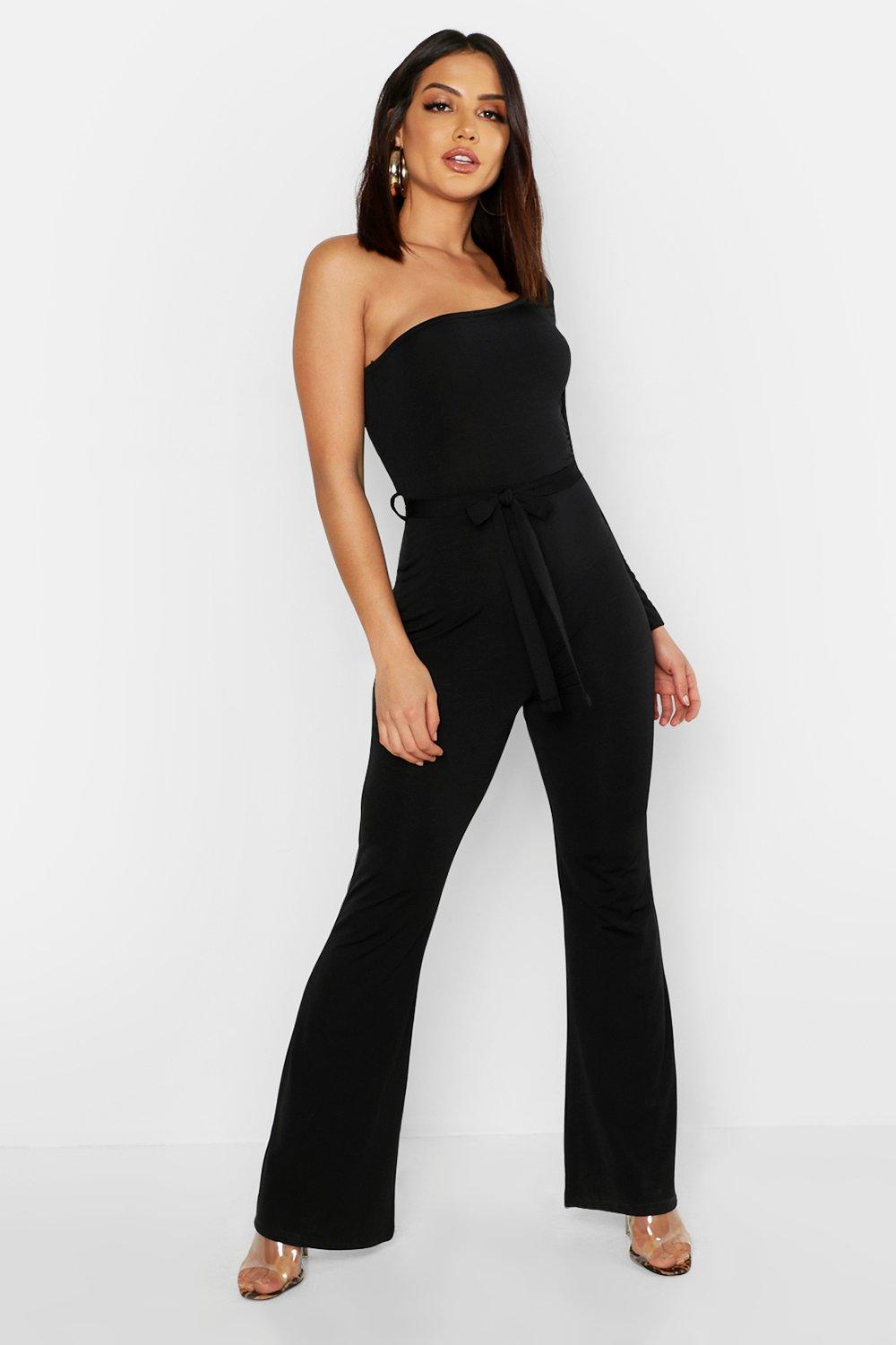 Slinky Long Sleeve One Shoulder Flare Jumpsuit