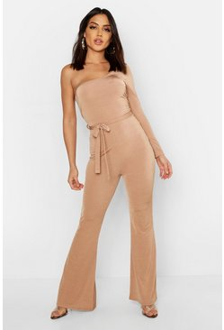 Womens Camel Slinky Long Sleeve One Shoulder Flare Jumpsuit