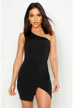 Womens Black Slinky One Shoulder Split Mini Dress