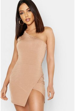 Womens Camel Slinky One Shoulder Split Mini Dress