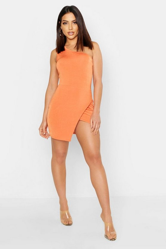 Womens Terracotta Slinky One Shoulder Split Mini Dress