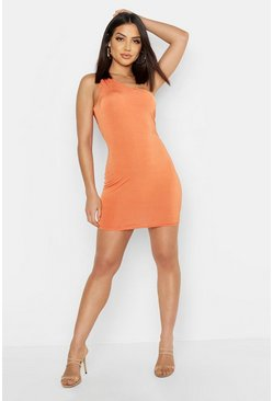 Terracotta Slinky One Shoulder Mini Dress