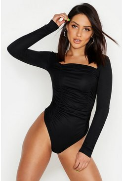 Black Ruched Long Sleeve Bodysuit