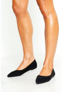 Womens Black Basic Pointed Flats