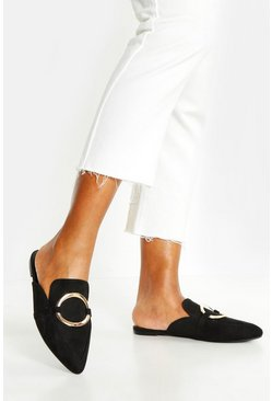 Womens Black Ring Detail Pointed Mule Flats