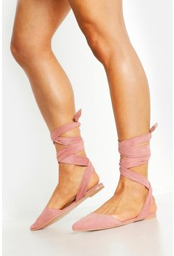 Blush Wrap Strap Pointed Flats