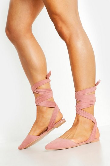 Womens Blush Wrap Strap Pointed Flats