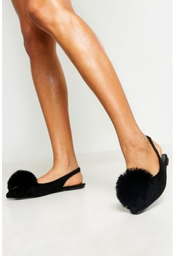 Womens Black Pom Pom Pointed Toe Ballet Pumps