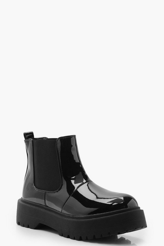Patent Chunky Cleated Chelsea Boots, Black, Donna