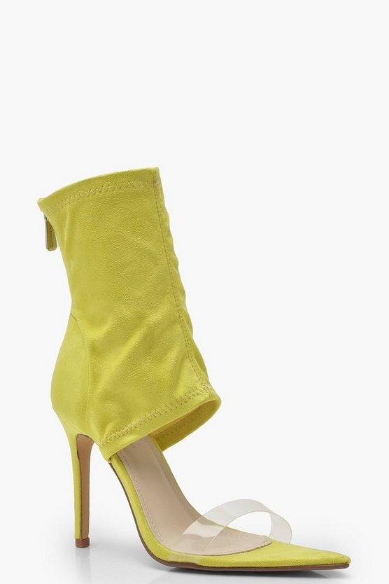 Womens Yellow Peeptoe Open Sock Boots