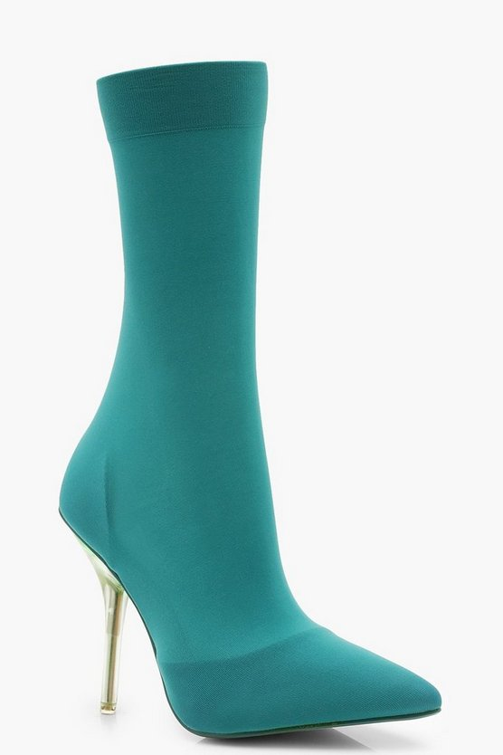 Womens Blue Clear Heel Pointed Toe Sock Boots