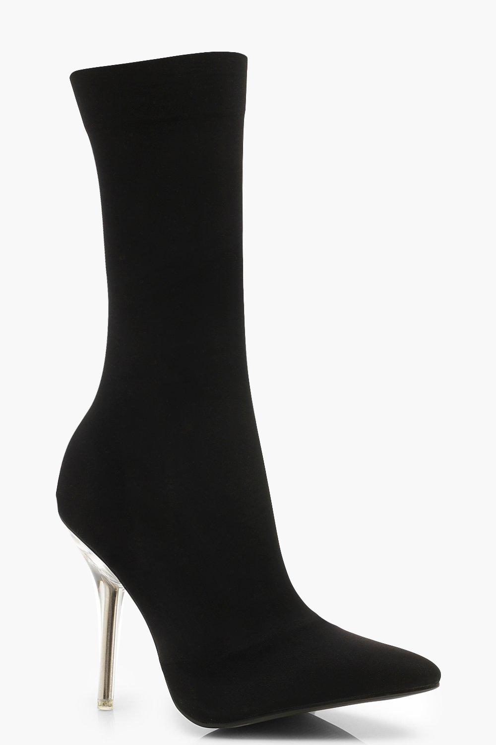 Perspex Heel Pointed Toe Sock Boots