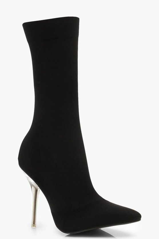 Womens Black Clear Heel Pointed Toe Sock Boots
