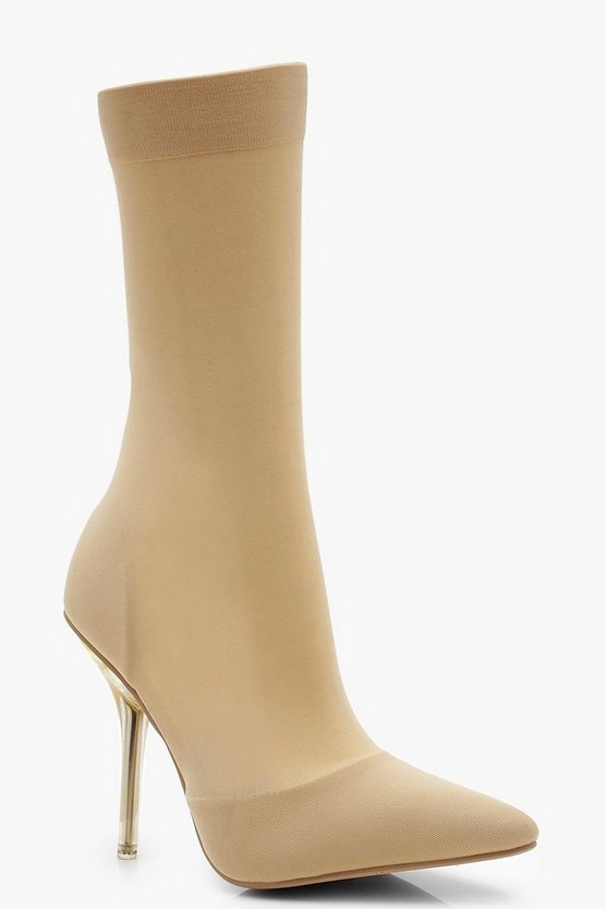 Clear Heel Pointed Toe Sock Boots, Nude, Donna