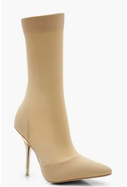 Womens Nude Clear Heel Pointed Toe Sock Boots