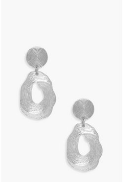 Womens Silver Spiral Textured Statement Earrings
