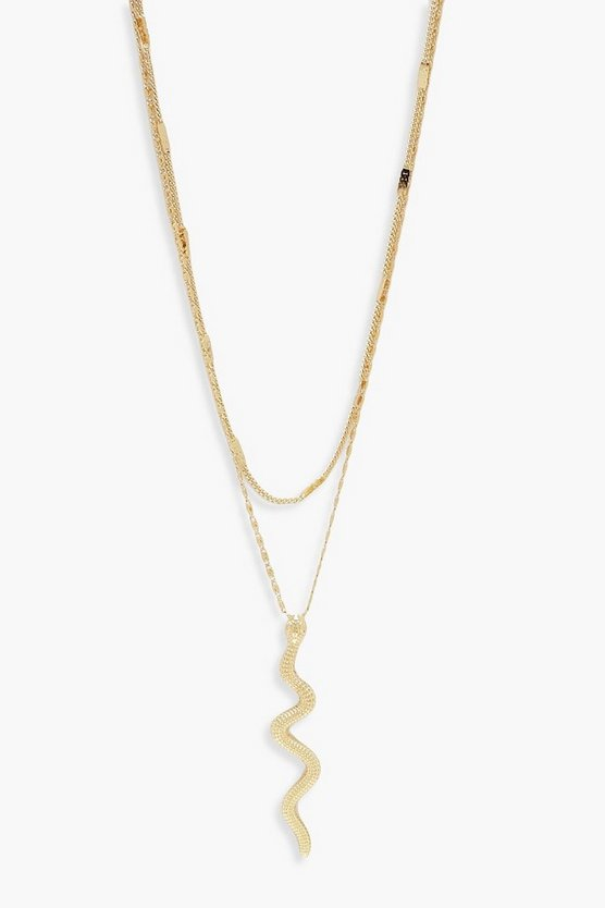Womens Gold Snake Double Layer Necklace