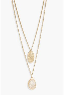 Womens Gold Textured Coin & Iridescent  Layered Necklace
