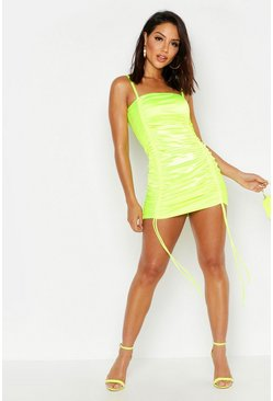 Strappy Stretch Satin Ruched Mini Dress, Lime