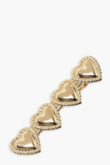 Womens Gold Large Heart Hair Slide