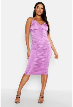 Womens Lilac Ruched Midi Skirt