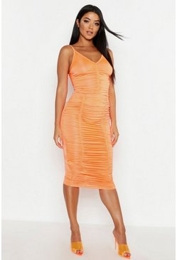 Womens Orange Ruched Midi Skirt