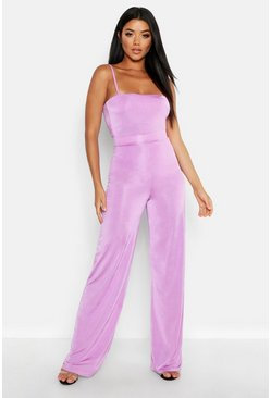 Womens Lilac High Waisted Wide Leg Pants