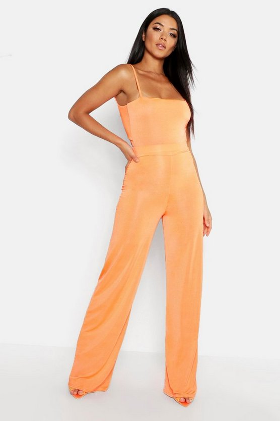 Womens Orange High Waisted Wide Leg Trouser