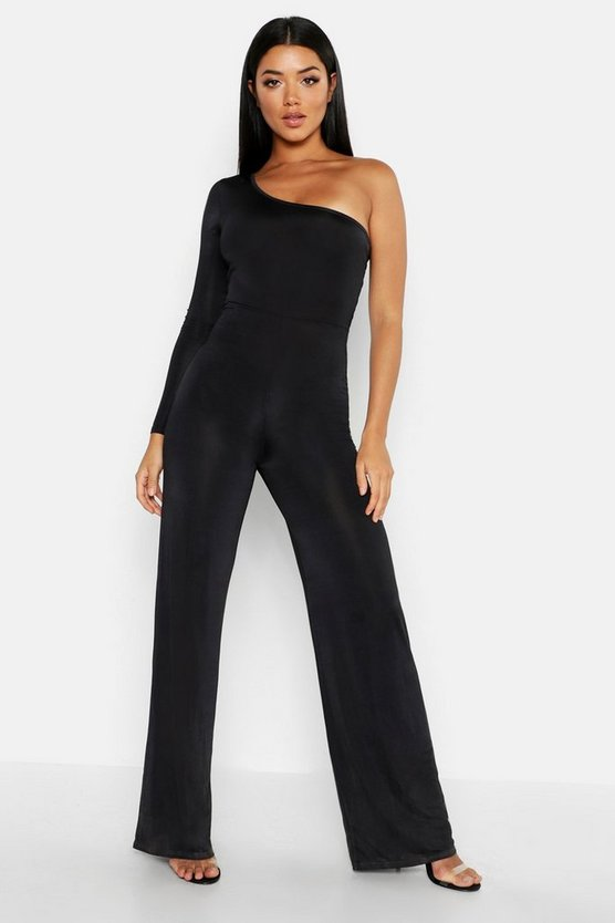 One-Shoulder-Jumpsuit, Schwarz, DAMEN