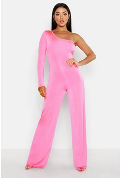 Womens Hot pink One Shoulder Jumpsuit