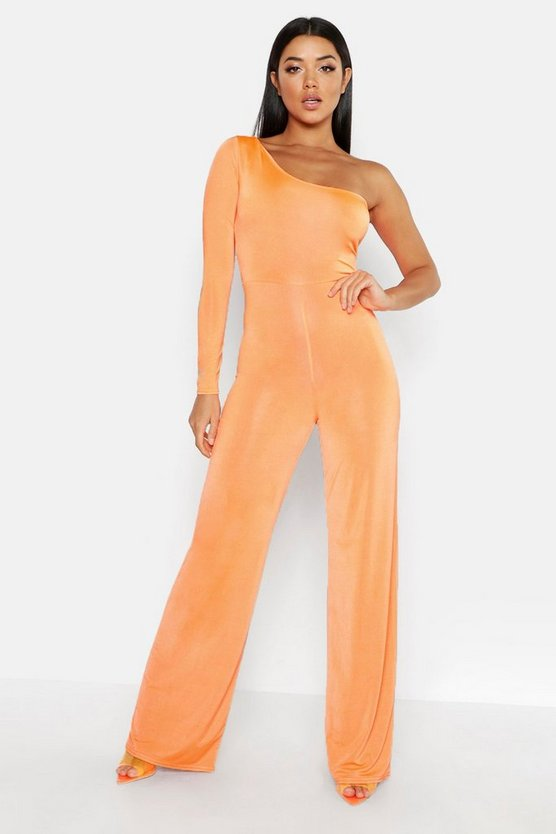 Neon-orange One Shoulder Jumpsuit