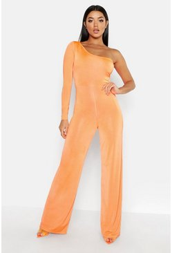 Womens Neon-orange One Shoulder Jumpsuit