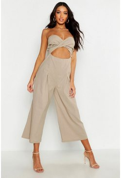 Linen Mix Wrap Twist Bandeau Jumpsuit, Natural, Donna