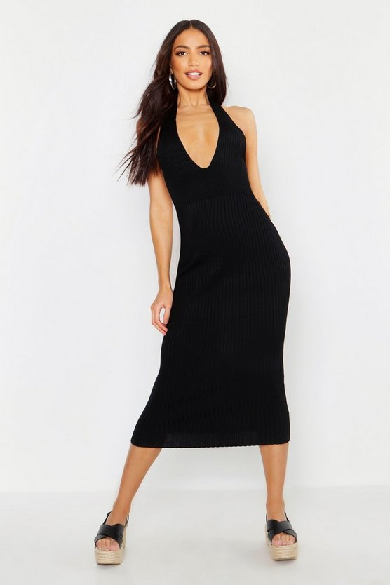 Womens Black Halter Plunge Rib Knit Midaxi Dress