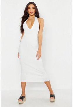 Womens White Halter Plunge Rib Knit Midaxi Dress