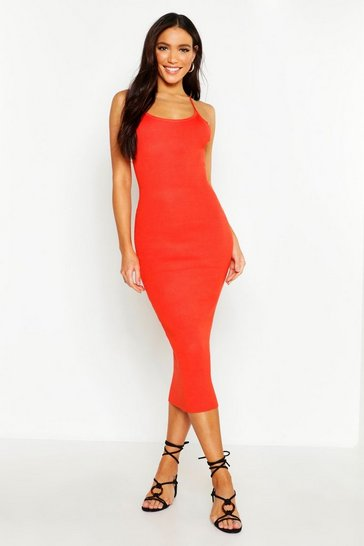 Womens Burnt orange Strappy Rib Knit Midaxi Dress