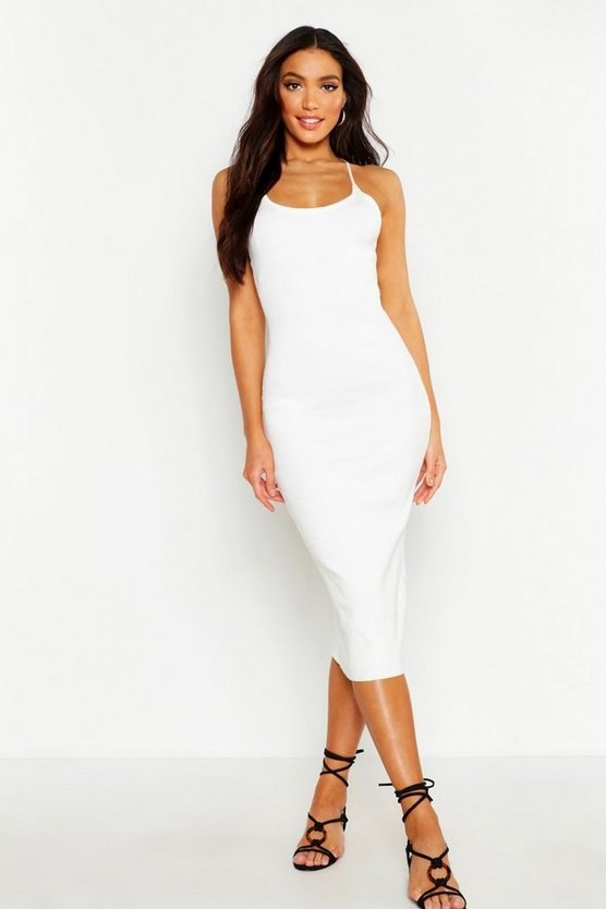 Womens White Strappy Rib Knit Midaxi Dress
