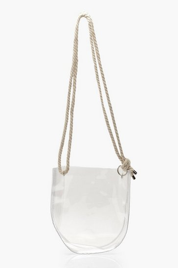 Womens Rope Clear Cross Body Bag