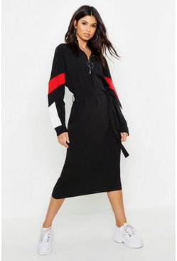 Womens Black Woven Funnel Neck Midi Dress