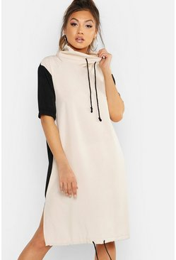 Womens Stone Woven Cowl Neck Draw Cord Midi Dress