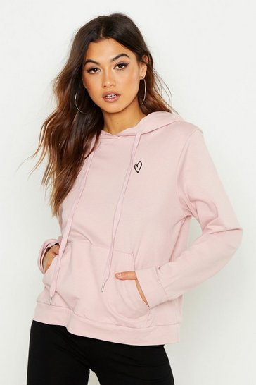 Womens Pink Embroidered Heart Oversized Hoody