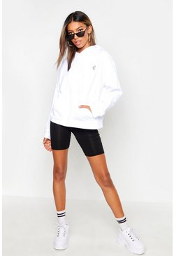 Womens White Embroidered Heart Oversized Hoody