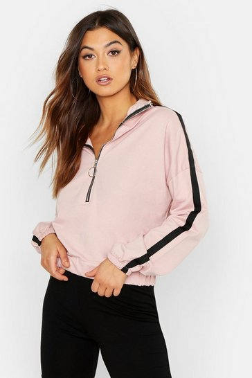 Womens Pink Funnel Neck Two Stripe Zip Through Sweat