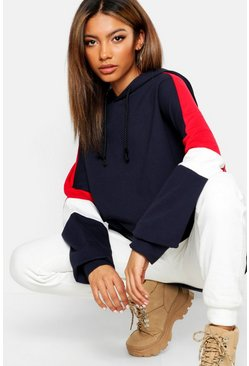 Colour Block Oversized Hoody, Navy, Donna