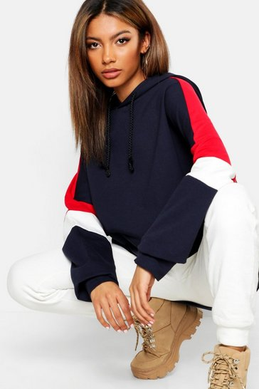 Womens Navy Colour Block Oversized Hoody