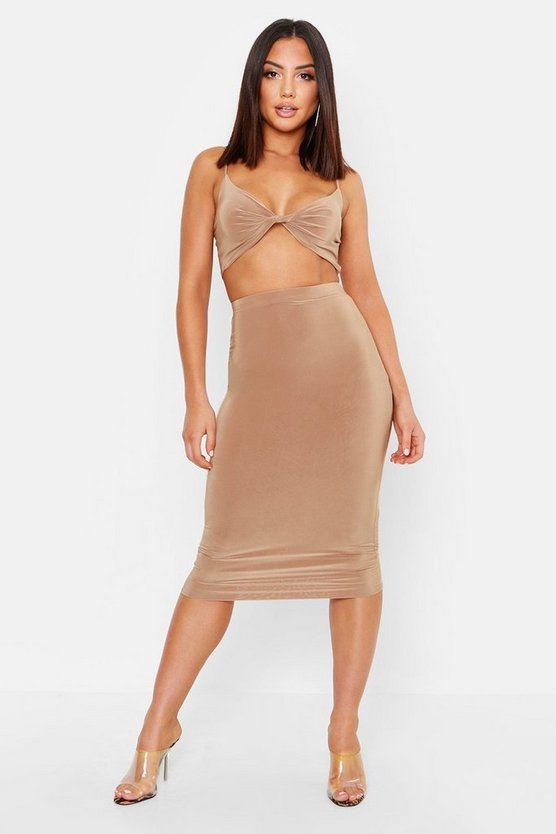 Womens Camel Double Layer Slinky Crop Top & Midi Skirt Co-Ord