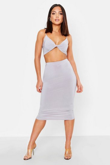 Womens Silver grey Double Layer Slinky Crop Top & Midi Skirt Co-Ord