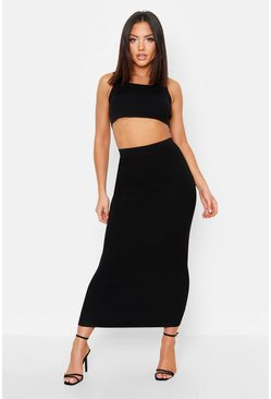 Womens Black Ribbed Knit Skirt Co-Ord